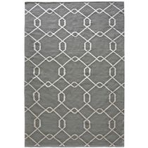 Lanart Diamond Polyester Flat Weave Area Rug Grey 3' x 5'