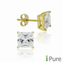 5mm CZ Square Studs - Sterling Silver 14kt Gold Plated