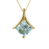 10kt Gold Pendant/chain with Genuine Blue Topaz