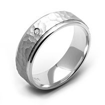 Rex Rings Sterling Silver Mens' Diamond Ring with Hammered Finish 9.5