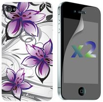 Exian Screen Guards x2 and TPU Case for iPhone 4/4s - Floral Pattern White and Purple