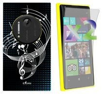 Exian Screen Guards x2 and TPU Case for Nokia Lumia 1020 - Musical Notes on Staff Black