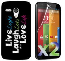 Exian Screen Guards x2 and TPU Case for Motorola Moto G - Live Laugh Love
