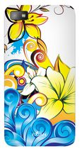 Exian Case for Blackberry Z10, Floral Pattern - Yellow, Blue & White