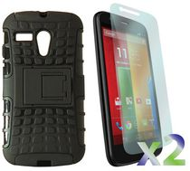 Exian Armored Case with Stand for Moto G - Black