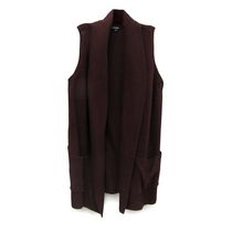 George Women's Long Sleeveless Sweater Vest Burgundy XL