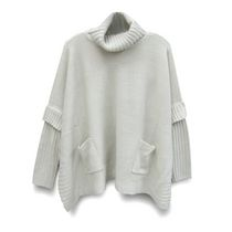 George Women's Mock Neck Boxy Poncho  with Sleeves Natural L