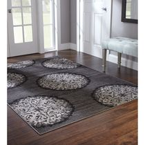 Home Trends Area Rug 5 Ft. X 8 Ft. Charcoal Medallions