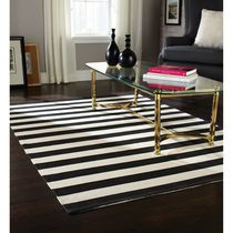 Home Trends Area Rug 4 Ft. 11 In. X 6 Ft. 9 In. Black/White Stripe