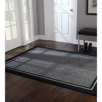 Home Trends Area Rug 4 Ft. 11 In. X 6 Ft. 9 In. Black And Grey Border Geo