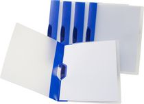 Storex Poly Report Cover With Swing Clip, 5 Pack, Blue Stripe