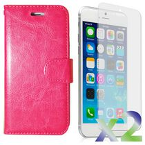 Exian Leather Wallet Case for iPhone 6 Plus - Pink
