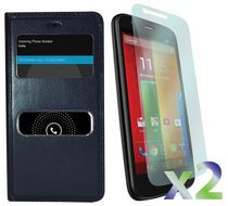 Exian Flip Case with Call Access Window for Moto G - Black