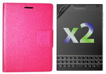 Exian Leather Wallet Case for Blackberry Passport Pink