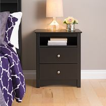 Prepac Sonoma Black Tall 2-Drawer Nightstand with Open Shelf