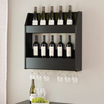 Prepac Black 2-Tier Floating Wine and Liquor Rack