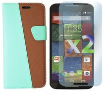 Exian  Leather Wallet Case for Moto X2 - Green & Brown