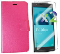 Exian Case for OnePlus One - Leather Wallet With Screen Protector Hot Pink