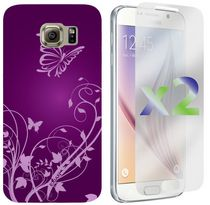 Exian Case for Samsung Galaxy S6, Flowers and Butterflies - Purple