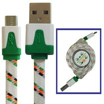 Exian Micro USB to Retractable USB Cable, Knitted Wire Pattern - White