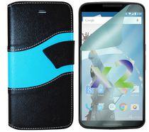 Exian Wallet Case for Nexus 6, Wave Pattern - Black and Blue