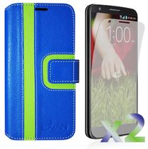 Exian Wallet Case for LG G3, Striped Pattern - Blue and Green