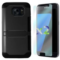 Exian Armored Case with Card Slot for Galaxy S7 in Black