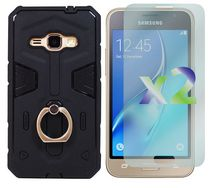 Exian Armored Case with Ring for Galaxy J1 in Black