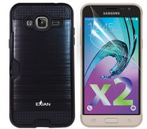 Exian Armored Case with Card Slot for Galaxy J3 in Black