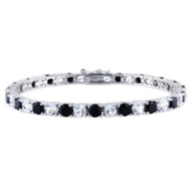 14.25 Carat T.G.W. Created White Sapphire and Black Spinel Sterling Silver Tennis Bracelet; 7""
