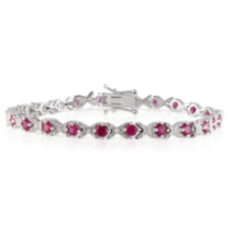 "Tangelo 4.33 Carat T.G.W. Created Ruby and Diamond Accent Sterling Silver ""XOX"" Style Tennis Bracelet; 7"""