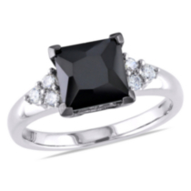 4.69 Carat T.G.W. Black and White Cubic Zirconia Sterling Silver Engagement Ring 7
