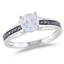 1.38 Carat T.G.W. Created White Sapphire and 0.14 Carat T.W. Black Diamond Sterling Silver Ring 6.5