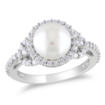 Miadora 8.5-9mm White Cultured Freshwater Pearl and 1 Carat T.G.W. Cubic Zirconia Sterling Silver Cocktail Ring 6