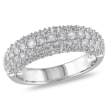 Miabella 2 Carat T.G.W. Created White Sapphire Sterling Silver Semi-Eternity Ring 5