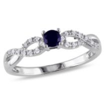 Tangelo 0.20 Carat T.G.W. Created Blue Sapphire and Diamond Accent Sterling Silver Cross-Over Promise Ring 6