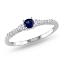 Tangelo 0.33 Carat T.G.W. Created Blue Sapphire and Diamond Accent Sterling Silver Promise Ring 7