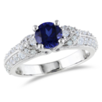 Tangelo 1.67 Carat T.G.W. Created Blue and White Sapphire Sterling Silver Engagement Ring 6