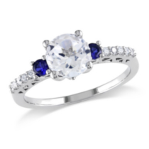 Miadora 1.60 Carat T.G.W. Created White and Blue Sapphire and Diamond Accent 10kt White Gold Engagement Ring 6.5