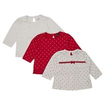 George British Design Baby Girls' 3Pk Heart Spot Tops 12-18 months
