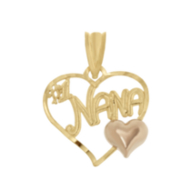 10K Two Tone #1 Nana Heart Charm