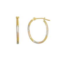 10K Tri Color Gold Hoop Earrings