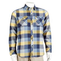 Hawk Men's Long Sleeved Flannel Shirt Navy L/G