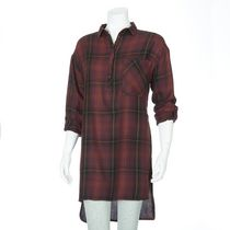 g:21 Women's Long Sleeved Shirt Dress Burgundy XL/TG