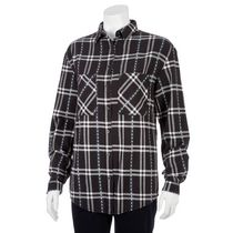 g:21 Women's Boyfriend Plaid Shirt Black L/G