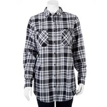 g:21 Women's Plaid Shirt Tunic Black XXL