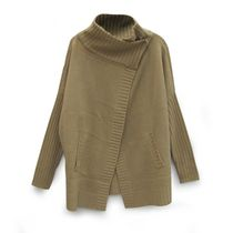 George Women's Cowl Neck Button Wrap Cardigan with Front Pockets Oatmeal L
