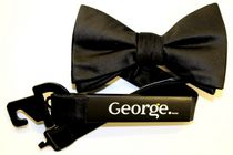 George Men's Classic Solid Black Bow Tie