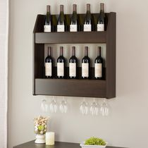 Prepac Espresso 2-Tier Floating Wine and Liquor Rack