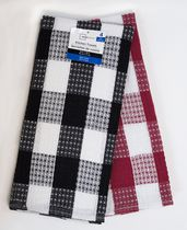 Mainstays 4-pack waffle kitchen towels Black/Red